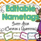 EDITABLE Name Tags {Sweet Decor Chevron and Quatrefoil}