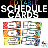 EDITABLE Schedule Cards in Bold Chevrons: With and Without
