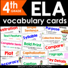 ELA Common Core Vocabulary Cards-Fourth Grade