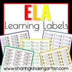 ELA Learning Labels- Kindergarten (Word Doc)