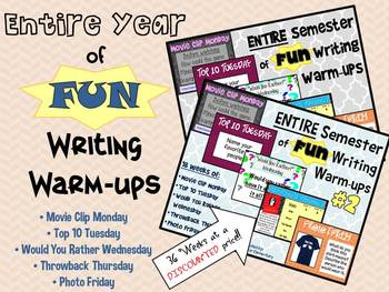 ENTIRE Year of FUN Writing Warm-Ups: 20% OFF!!!