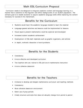ESL Math Curriculum and Team Teaching Collaboration Proposal
