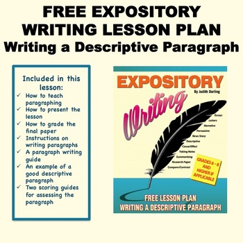 EXPOSITORY FREE LESSON PLAN - Writing a Descriptive Paragraph