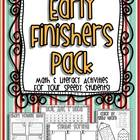Early Finishers Pack - Math & Literacy Activities For Your