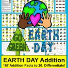 Earth Day Math Centers Activities-167 Addition Facts to 20