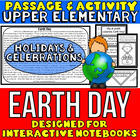 Earth Day Passage and Activity for INTERACTIVE NOTEBOOKS