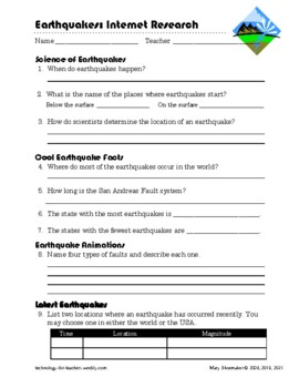 Earthquakes FAQS: Internet Scavenger Hunt