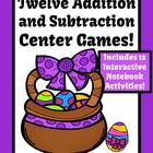 Easter Addition and Subtraction Centers, Printable Seatwor