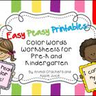 Easy, Peasy Printables: Pre-k and Kindergarten Color Words