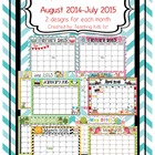 Editable 2014-2015 Cute Monthly Classroom Calendars August