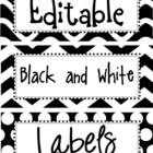 Editable Black and White Labels