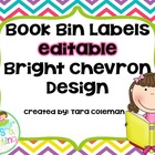 Editable Book Bin Labels (bright chevron)