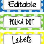 Editable Bright Polka Dot Labels
