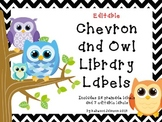 Editable Chevon and Owl Library Labels