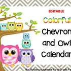 Editable Colorful Chevron and Owl Calendar