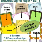 Editable Digital Paper - Set 3  -  Pick your own colors!
