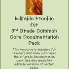 Editable Freebie for 3rd Grade Common Core Documentation Kit