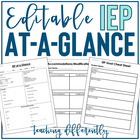 IEP at a Glance (Fully Editable!)