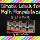 Editable Labels for Math Manipulatives and Organization {B