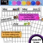 Editable Monthly Calendar Templates~ Featuring Graphics fr