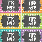 Editable Polka Dot Tags- BRIGHT polka Dot with Chalkboard-