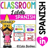 Editable Spanish Classroom Labels with Visuals { for Littl