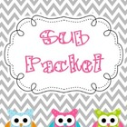 Editable Substitute Packet (Chevron with Polka Dot Owl Decor)