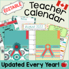 Editable Teacher Calendar - Canadian Version