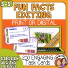 Editing Task Cards: 200 Fun Facts Sentence Cards, CCSS Aligned