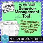 Effective Behavior Management Tool- FRIDAY RECESS Sheet