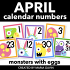 Egg Monsters Calendar Numbers