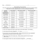 Elapsed Time - Bob's Birthday Worksheet