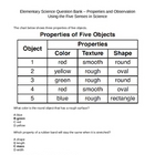 Elementary Science Question Bank - Properties of Matter (4 - 7)