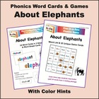 Elephant Phonics Word Cards & Games, with Color Hints on Vowels
