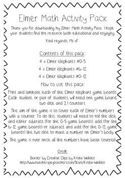 Elmer Math Activity Pack