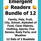 Emergent Readers English Bundle - 12 Booklets / Flashcard Sets