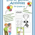 End of School Writing Activities for Lower Elementary Grades