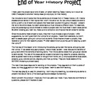 End of Year History Choice Project with Rubrics