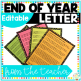 End of Year Letter From Your Teacher—Editable/Customizable