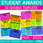 End of Year Student Award Templates