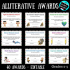 End of the Year Alliterative Awards Printable Award Certificates