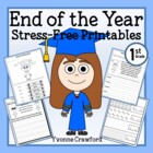 End of the Year Stress-Free Printables - First Grade Common Core
