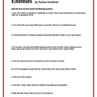 Enemies by Nadine Gordimer - Study Guide Questions and key
