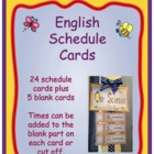 English Schedule Cards