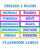 Classroom labels: Days of the week in English and Maori ~