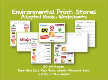 http://www.teacherspayteachers.com/Product/Environmental-Print-Store-Adapted-Book-and-Worksheets-Special-Ed-Autism-1045506