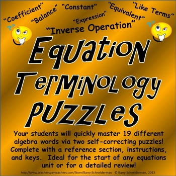 Equation Terminology Puzzles