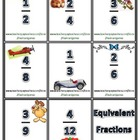 Equivalent Fractions Flash Cards