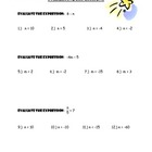 Evaluating Algebraic Expressions Worksheet