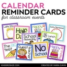 Events at School Calendar Reminder Cards